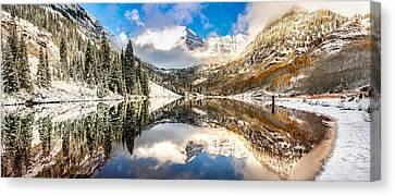 Reflecting Upon The Maroon Bells - Aspen Colorado Canvas Print by Gregory Ballos