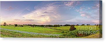 Summer Thunderstorm Canvas Print - Panorama Of Bales Of Hay In A Field - Chappell Hill Texas by Silvio Ligutti