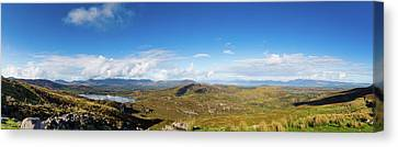 Canvas Print featuring the photograph Panorama Of Ballycullane And Lough Acoose In Ireland by Semmick Photo