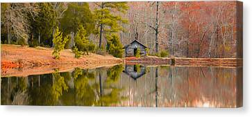 Panorama Of Cabin By The Lake Canvas Print by Shelby  Young