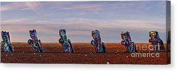 Panorama Of Cadillac Ranch In The Early Morning - Amarillo Texas Panhandle Canvas Print by Silvio Ligutti
