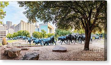 Dallas Western Canvas Print - Panorama Of Cattle Drive At Pioneer Plaza In Downtown Dallas - North Texas by Silvio Ligutti