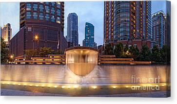 Hyatt Hotel Canvas Print - Panorama Of Centennial Fountains At Twilight Chicago River - Near North Side Chicago Illinois by Silvio Ligutti