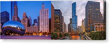 Panorama Of Cloudgate And Chicago River - Chicago Illinois Canvas Print by Silvio Ligutti