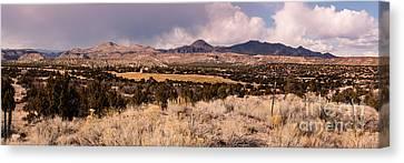 Panorama Of Cochiti Lake Golf Club - Cochiti Pueblo Jemez Mountains New Mexico Canvas Print by Silvio Ligutti