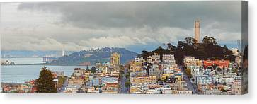Panorama Of Coit Tower - Yerbabuena Island And Bay Area - San Francisco California Canvas Print by Silvio Ligutti