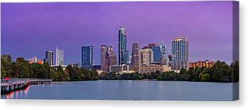 Panorama Of Downtown Austin Skyline From The Lady Bird Lake Boardwalk Trail - Texas Hill Country Canvas Print