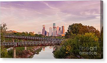 Panorama Of Downtown Houston Skyline From Studemont Drive - Buffalo Bayou Park Houston Texas Canvas Print by Silvio Ligutti