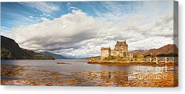 Panorama Of Eilean Donan Castle Scotland Canvas Print by Colin and Linda McKie