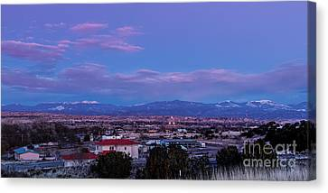 Panorama Of Espanola Valley With Sangre De Cristo Mountains During Twilight - Northern New Mexico Canvas Print by Silvio Ligutti