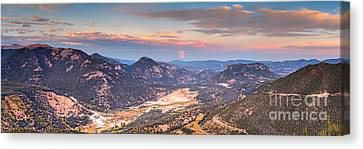 Panorama Of Fall River Road From Rainbow Curve Overlook - Rocky Mountain National Park - Estes Park Canvas Print by Silvio Ligutti