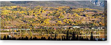 Panorama Of Frisco With Fall Foliage Aspens - Colorado Rocky Mountains Canvas Print