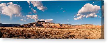 Panorama Of Ghost Ranch Mountains And Mesas - A Tribute To The Master - Abiquiu Northern New Mexico Canvas Print by Silvio Ligutti