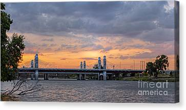 Panorama Of I-35 Jack Kultgen Highway Bridges At Sunset From The Brazos Riverwalk - Waco Texas Canvas Print by Silvio Ligutti