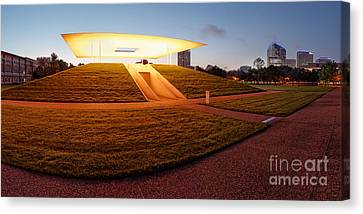 Panorama Of James Turrell Skyspace Twilight Epiphany - Rice University Houston Texas Canvas Print by Silvio Ligutti