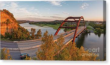 Pennybacker Bridge Canvas Print - Panorama Of Lake Austin And Texas Hill Country From Highway 360 Overlook - Austin Texas by Silvio Ligutti