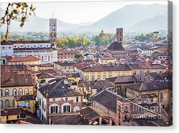 Canvas Print featuring the photograph panorama of old town Lucca, Italy by Ariadna De Raadt