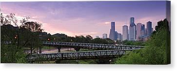 Panorama Of Rosemont Bridge Over Buffalo Bayou At Sunrise - Downtown Houston Skyline Texas Canvas Print by Silvio Ligutti