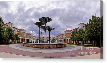 Panorama Of Texas Christian University Campus Commons And Frog Fountain - Fort Worth Texas Canvas Print