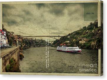 Canvas Print featuring the digital art panorama of the Douro river, Dom Luiz Bridge of  Porto, Portugal by Ariadna De Raadt