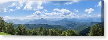 Panorama Of The Foothills Of The Pyrenees In Biert Canvas Print by Semmick Photo