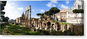 Panorama Of The Roman Forum Canvas Print by John  Bartosik