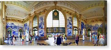 Panorama Of The Sao Bento Train Station In Oporto Portugal Canvas Print