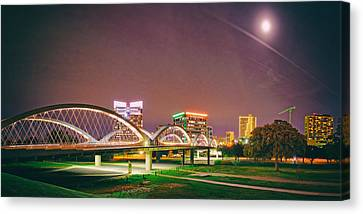 Panorama Of The Seventh Street Bridge And Downtown Fort Worth With Full Moon Above - Trinity River Canvas Print by Silvio Ligutti