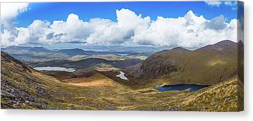 Canvas Print featuring the photograph Panorama Of Valleys And Mountains In County Kerry On A Summer Da by Semmick Photo