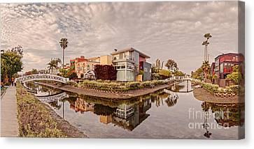Panorama Of Venice Beach Canals - Los Angeles California Canvas Print by Silvio Ligutti