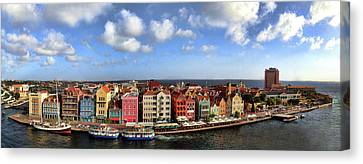 Panorama Of Willemstad Harbor Curacao Canvas Print