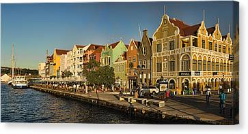 Port Town Canvas Print - Panorama Of Willemstad Waterfront Curacao by David Smith