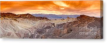 Panamint Valley Canvas Print - Panorama Of Zabriskie Point Manly Beacon In Death Valley National Park - Inyo County California by Silvio Ligutti