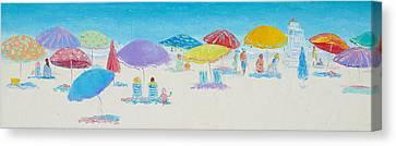 Panorama Painting Of Main Beach East Hampton Canvas Print