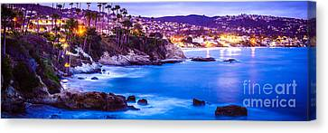 Panorama Picture Of Laguna Beach City At Night Canvas Print by Paul Velgos