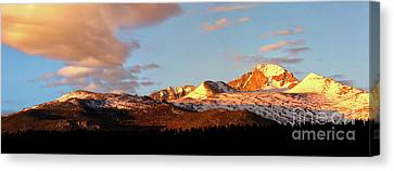 Panorama View Of Longs Peak At Sunrise Canvas Print by Ronda Kimbrow