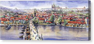 Panorama With Vltava River Charles Bridge And Prague Castle St Vit Canvas Print by Yuriy  Shevchuk
