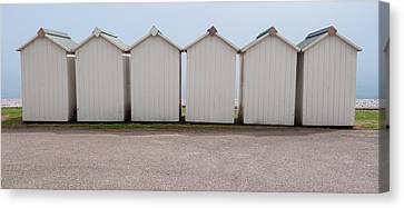 Panoramic Beach Huts Canvas Print by Helen Northcott