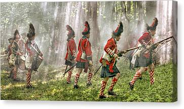 Panoramic French And Indian War Battle Canvas Print by Randy Steele