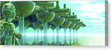 Panoramic Green City And Alien Or Future Human Canvas Print by Nicholas Burningham