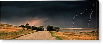 Panoramic Lightning Storm In The Prairie Canvas Print by Mark Duffy