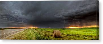 Panoramic Lightning Storm In The Prairies Canvas Print by Mark Duffy