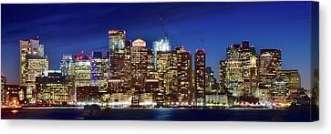 Panoramic Lights On A Boston Night Canvas Print by Frozen in Time Fine Art Photography