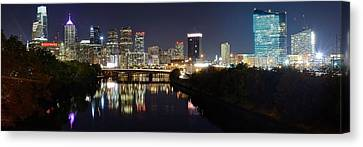 Rocky Statue Canvas Print - Panoramic Philadelphia by Frozen in Time Fine Art Photography