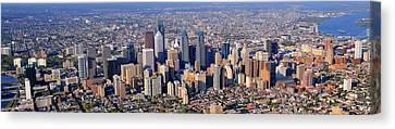Panoramic Philly Skyline Aerial Photograph Canvas Print by Duncan Pearson
