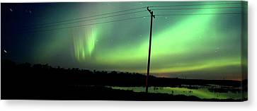 Panoramic Prairie Northern Lights Canvas Print by Mark Duffy