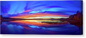 Panoramic Sunset At Round Lake Canvas Print by ABeautifulSky Photography
