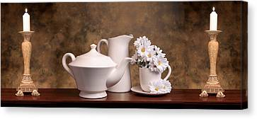 Candle Lit Canvas Print - Panoramic Teapot With Daisies by Tom Mc Nemar