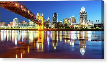 Canvas Print featuring the photograph Panoramic View Of Cincinnati Ohio - Colorful City Skyline by Gregory Ballos
