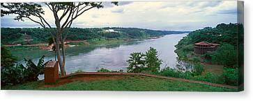 Panoramic View Of Confluence Of Iguazu Canvas Print